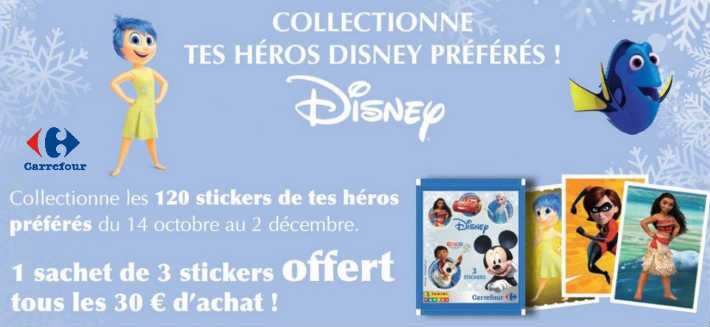 Carrefour collection cartes stickers Disney Panini offerts en magasin