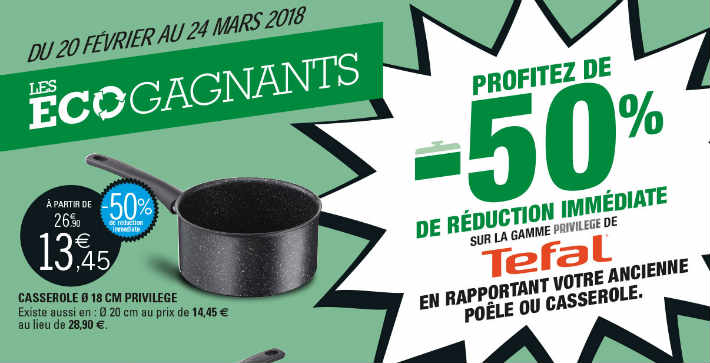 Leclerc recyclage poele casserole promotion Tefal privilege