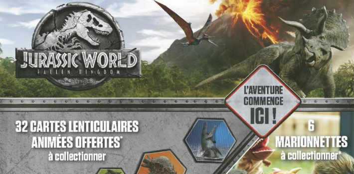 Géant Casino collection cartes Jurassic World marionnettes dinosaure