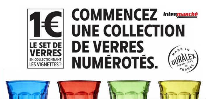 Intermarché vignettes Duralex verres 1 euro