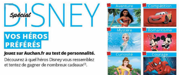 grand jeu disney auchan test de personnalit h ros. Black Bedroom Furniture Sets. Home Design Ideas
