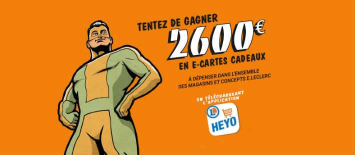 Grand jeu Leclerc Heyo code ticket caisse 2600 euros à gagner