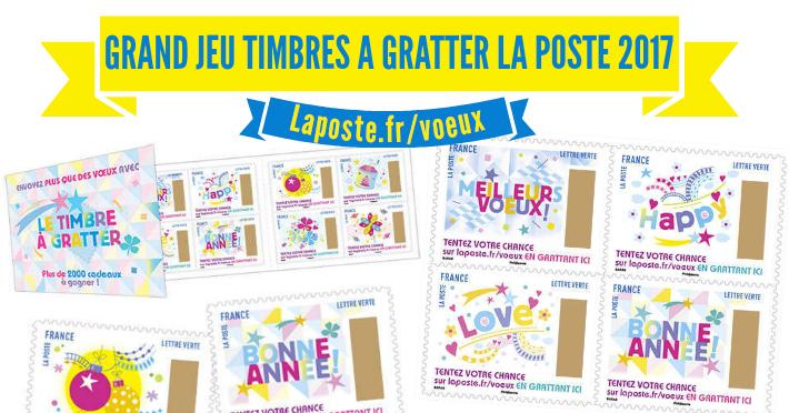 Laposte.fr/voeux - Jeu timbres à gratter 2017 La Poste plus que des voeux
