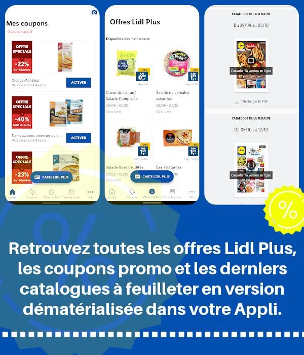 Coupons réduction à valider sur l'appli Lidl Plus