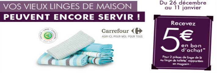carrefour textile offre recyclage vieux linge de maison. Black Bedroom Furniture Sets. Home Design Ideas